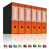 LogicaShop UBOX 6 carpetas de anillas A4 lomo 8 con funda de cartón, formato comercial, registrador con mecanismo de palanca D, carpeta con caja, carpeta universal naranja