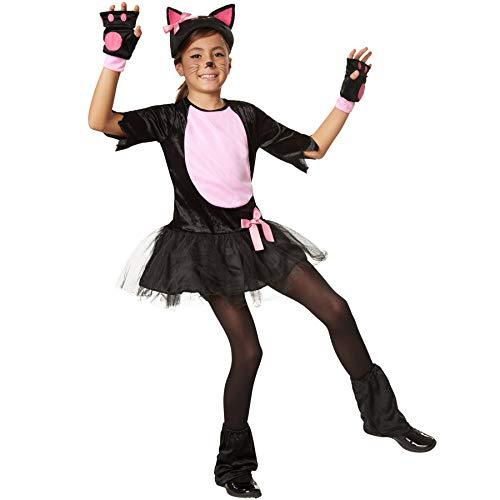 dressforfun 900472 -Costume Bambina Ragazza da Gatto in Peluche Nero con Elementi in Rosa (152 | No. 302103)