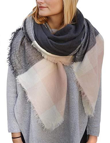 PARISLONDONNEWYORK XXL Women sjaal/Controleer Sjaal Vancouver, Materiaal: Gemaakt van zachte wol, Kleuren:. Roze Grijs/Zwart/Khaki - Geschikt for Dames/Heren/Unisex, Art.Nr: 124 Kleur: Speci