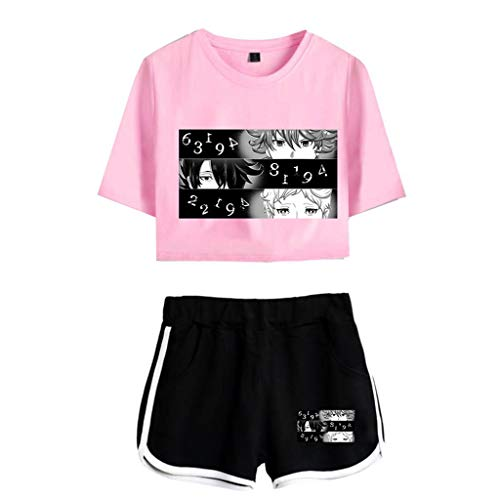 Nova camiseta curta The Promised Neverland e shorts Emma Norman Ray Cosplay camisa moletom anime para mulheres e meninas, 7, XL
