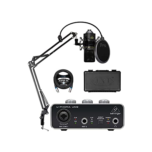MXL 770 Cardioid Condenser Microphone for Vocals and String Instruments Bundle with Behringer U-PHORIA UM2 USB Audio Interface for Windows and Mac, Blucoil Boom Arm Plus Pop Filter, and 10' XLR Cable