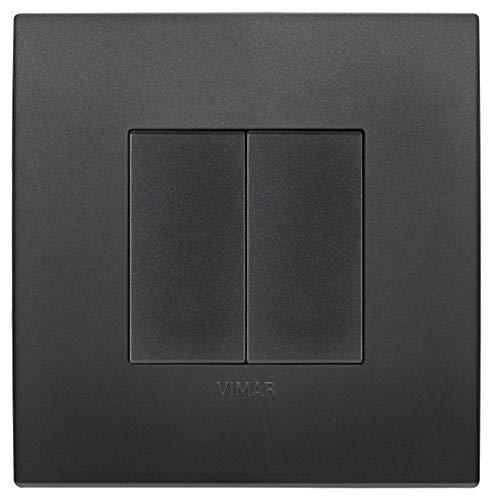 VIMAR 0K03925.07 Arké Kit comando connesso, senza fili e senza batterie, VIEW Wireless standard Bluetooth completo di supporto, tasti, placca 2M, Nero