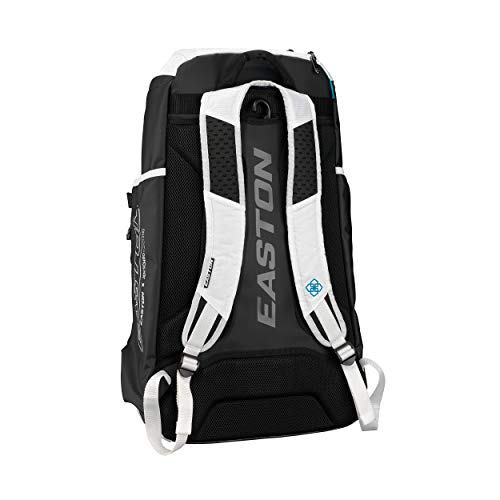 EASTON JEN SCHRO Edition Softball Catchers Bat and Equipment Backpack   2021   White   Female Inspiration Lining   Vented Main Gear Compartment   2 Bats Sleeves   Side Leg Guard Pockets   E700CBP