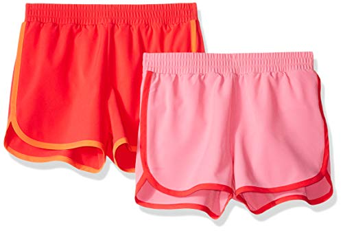 Amazon Essentials Girls' Big 2-Pack Active Running Short, Pink/Coral, Large