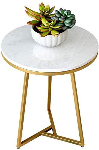 Bijzettafel bijzettafel woonkamer simple goud driehoek smeedijzer bijzettafel hoekbank tafel, ronde natuurlijke marmeren werkbladen, geschikt voor woonkamer, kleine kamer, hoek
