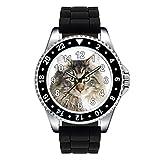 Timest - Norwegische Waldkatze - Katzen Motiv Uhr Unisex mit Silikonband in schwarz Rund Analog Quarz SE0175SB