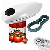 Práctico abrelatas eléctrico profesional, con abrebotellas, encendido One-Touch-Start, ergonómico, para conservas de cocina