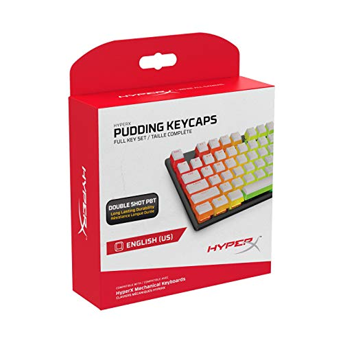 HyperX Pudding Keycaps - Double Shot PBT Keycap Set with Translucent Layer, for Mechanical Keyboards, Full 104 Key Set, OEM Profile, English (US) Layout - White