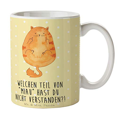 Mr. & Mrs. Panda Tee, Kaffeebecher, Tasse Katze Mittelfinger mit Spruch - Farbe Gelb Pastell