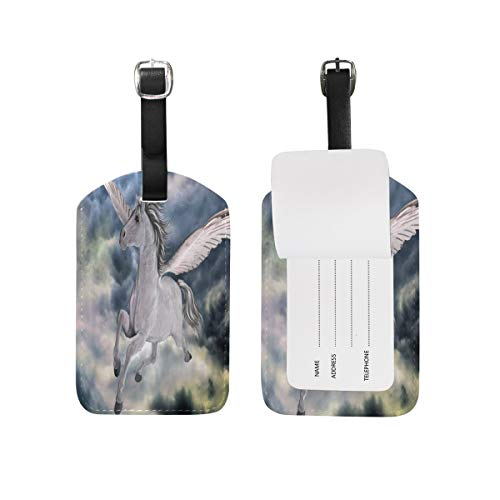 Watercolor Halloween Night Crooked Houses Luggage Tag for Baggage Suitcase Bag Travel Label Leather 1 Piece