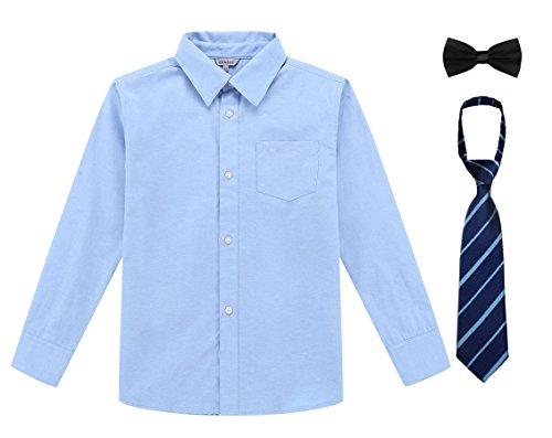 Bienzoe Jungen Schuluniform Lange Oxford Hemd Pack Blau Größe 6