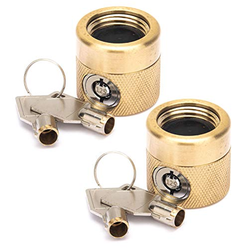Flow Security Systems | The FaucetLock | Heavy Duty Brass Construction | Prevents Water Theft & Secures Outdoor Bibbs | Promotes Water Conservation | Keyed The Same | FSS 50 | 2 Pack
