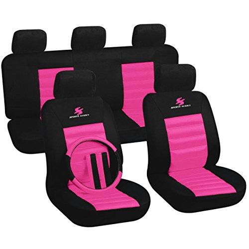 WOLTU AS7264rs Sitzbezüge Auto Schonbezüge universal Größe, mit Lenkradbezug und Gurtpolster, Sportlich, schwarz-rosa