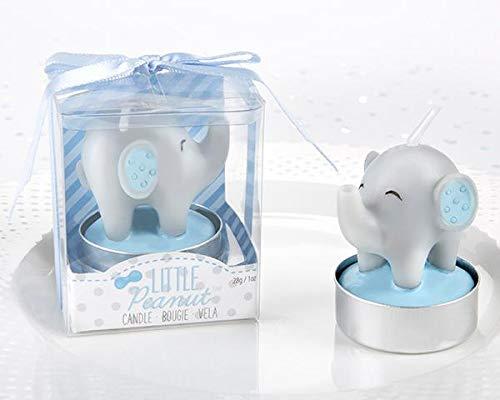 Lote 14 Velas Bautizo Elefante en caja de regalo. Velas para bautizo. Originales velas de bautizo (Rosa)