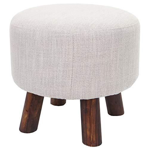 Mendler Sitzhocker HWC-C29, Ottomane Hocker Fußhocker, Ø 42cm rund ~ Textil beige