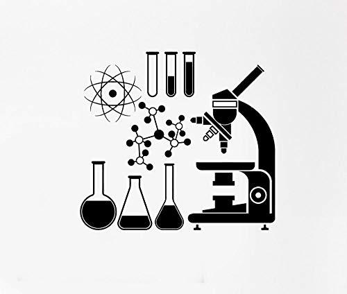 Wetenschap Muursticker voor School Klas Decor Microscope Wetenschapper Scheikunde Verwijderbare Vinyl Windows Decal Tiener Kamer Grootte 30X28Cm