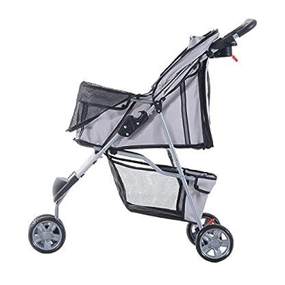 PawHut Pet Travel Stroller Cat Dog Pushchair Trolley Puppy Jogger Carrier Three Wheels (Gray) 7