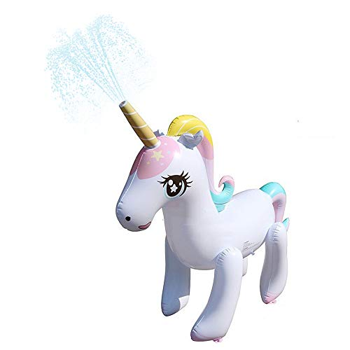 Aufblasbar Einhorn Sprinkler Spielzeug, Kinder Summer Outdoor Wasser Sprinkler Unicorn Garten Wasserspielzeug 137cm