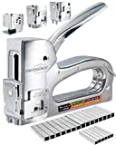 TREK TOOLBOX Staple Gun - 3 Functions in 1 Stapler, Heavy Duty & Light Duty Staple Gun in 1 Handy Tool for Wood, Upholstery, Paper & Wire, Works with Arrow T50 (1/4, 3/8 and 5/16 in) & JT21 Staples