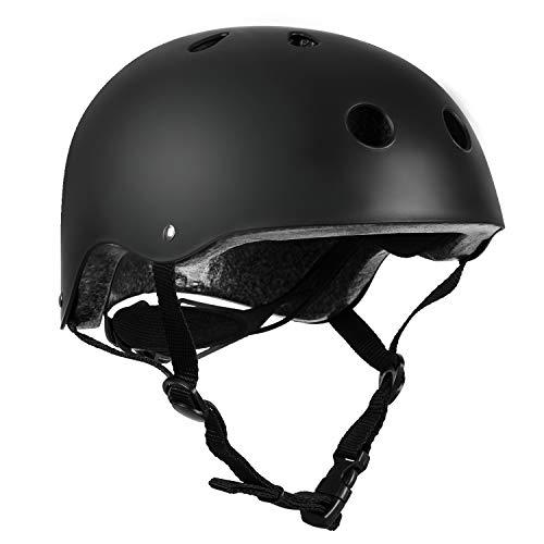 Children Cycle Bike Helmet, regolabile per bambini casco da bici BMX Multi sport, casco per la sicurezza sportiva per i pattini da mountain bike, leggero, guida di età 3-12 anni ragazzi/ragazze(Nero)