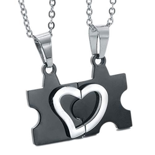 Qinghengyong 2pcs de Acero de Titanio Collar Rompecabezas del corazón suéter Amor del corazón de la Personalidad Collar de Cadena Pendiente del suéter