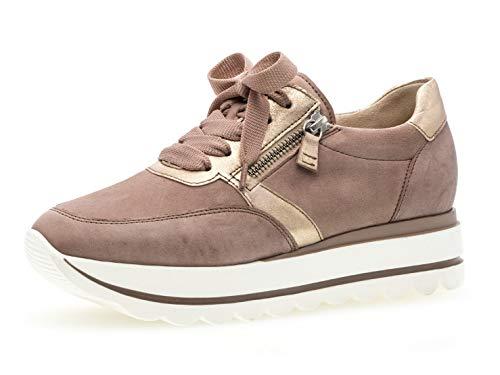 Gabor Damen Low-Top Sneaker 24.410.54, Frauen Halbschuh,Schnürschuh,Strassenschuh,Business,Freizeit,antikrosa/rame,40.5 EU / 7 UK