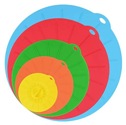 Miystn Tapaderas Silicona, Tapas de Silicona Elásticas, Tapas de Silicona Reutilizables, Eco Cubiertas de Alimentos - Sin BPA, para Lavavajillas, Microondas, Horno o Refrigerador (5 Piezas, 5 Colores)