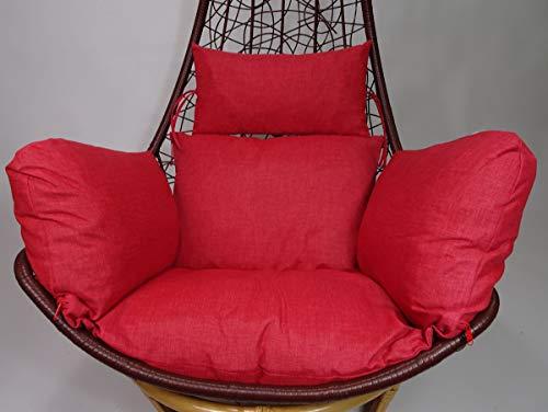 Rattani - Polster, Kissen, Auflage für Rattan Hängeschaukel Schaukelstuhl Rattanschaukel Gr. Sitzfläche 60 x 50 cm Loneta rot