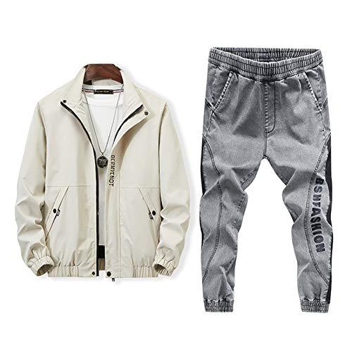 Chaquetas Jeans 2 Piezas Conjuntos Chándal Hombres Sports Trajes Streetwear Street Traje Chaqueta Abrigo Denim Pantalones Set Masculino Grey XXL