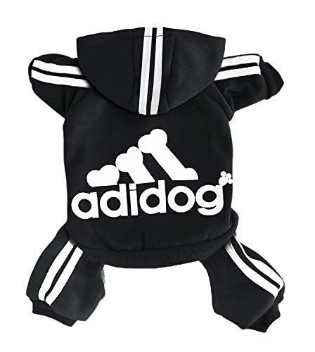 Rdc Pet Adidog Dog Hoodies, Clothes,Fleece Jumpsuit Warm Sweater,4 Legs Cotton Jacket Sweat Shirt Coat for Small Dog Medium Dog Large Dog (Black,L)