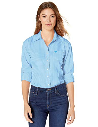 Cinch Damen Tencel Long Sleeve Shirt Button Down Hemd, hellblau, Klein