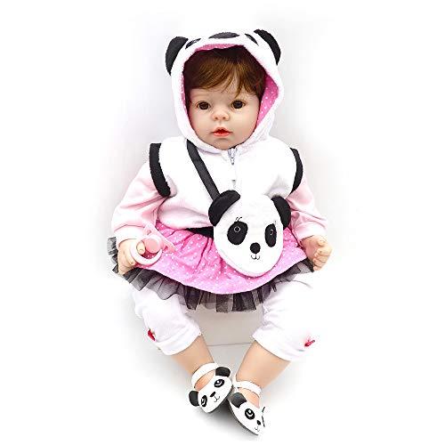 Staright Boneca renascida realista de 22 polegadas, feito à mão, brinquedo de corpo macio, bebê renascido menina com panda presente