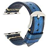 JJBFAC - Accessori per orologi Apple da 44 mm, 42 mm, 40 mm, 38 mm, serie 7, 6, 5, 4, 3, 2 1, SE (colore del cinturino: marrone scuro-nero, larghezza del cinturino: 42 mm)