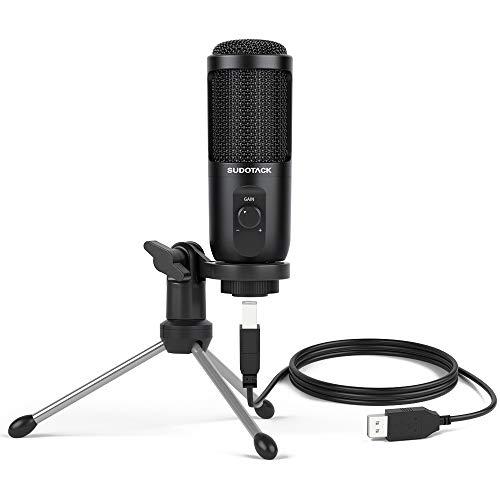 Microfono para PC de Condensador , kit de Micro para computadora USB Streaming SUDOTACK, con Control de Ganancia para Podcast, Gaming, Grabación, Youtube, Zoom