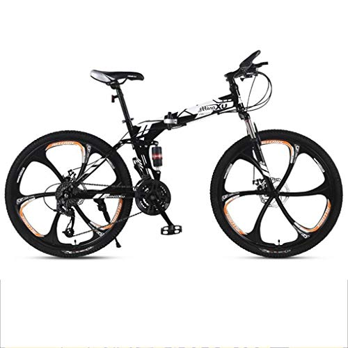 Kays Mountain Bike,Foldable Men/Women Mountain Bicycles,Dual Suspension And Dual Disc Brake,26 Inch Mag Wheels (Color : Black)
