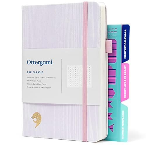 Carnet Bullet Journal Pointillé | Carnet de Notes + Pochoirs Bonus | 150gsm Papier notebook | The Classic par Ottergami (Grain Lilas)