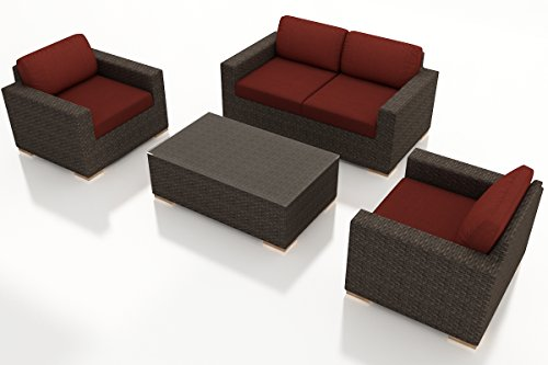 Harmonia Living HL-ARD-CH-4SS-HN 4 Piece Arden Sofa Set, Canvas Henna Cushions