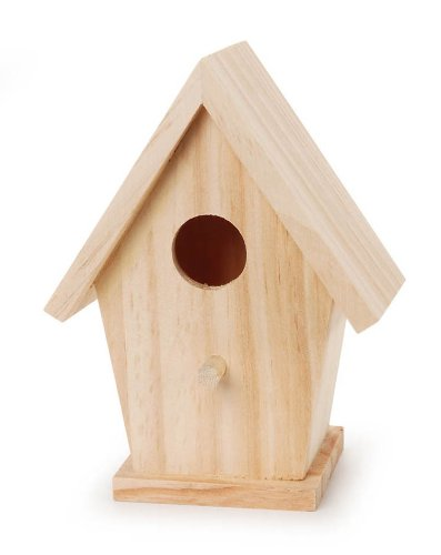 "Darice Unfinished Natural Wood Decorative Birdhouse - Light Wood with Hole Opening - Great for Holiday and Home Décor Projects - Decorate with Paint, Tiles, Decoupage and More - 5.75"" Tall (1 Piece)"