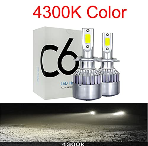 Faros Auto Car H8 H11 H7 H4 H1 LED Faros LED 6000K Fresco Blanco 72W 8000LM Bombillas de COB Diodos Automóviles Lámpara de piezas xenón ( Emitting Color : 4300K , Lumens : 8000Lm )