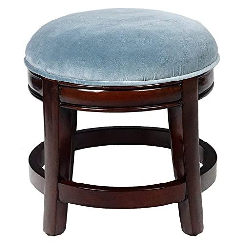 ZANZAN Taburete de cuero para zapatos, banco de madera maciza y taburete bajo de haya con patas de madera maciza (color azul)