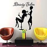 mlpnko Wandtattoo Mode Mädchen Haarschnitt Salon Friseur Vinyl Aufkleber Wandaufkleber57X80cm