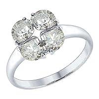 Der schöne schmale Ring mit vier funkelnden Schmucksteinen, die zu einem Quadrat angeordnet sind, verzaubert mit einem Glanz aus dem tiefsten Inneren und fasziniert die Betrachter. Ein wunderschönes Schmuckstück für Anhängerinnen des Minimalismus. De...