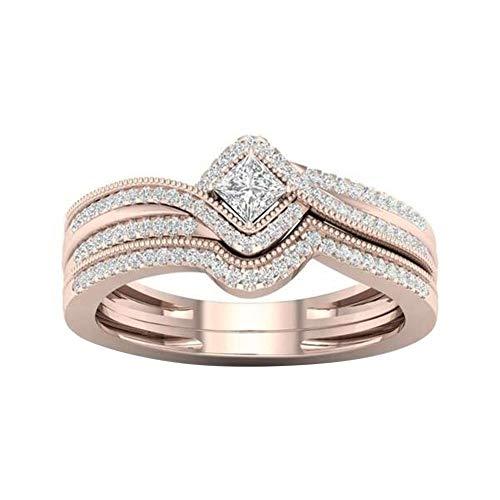 Profusion Circle - Anillo de Compromiso para Mujer con Incrustaciones de Diamantes de imitación, Color Rosa
