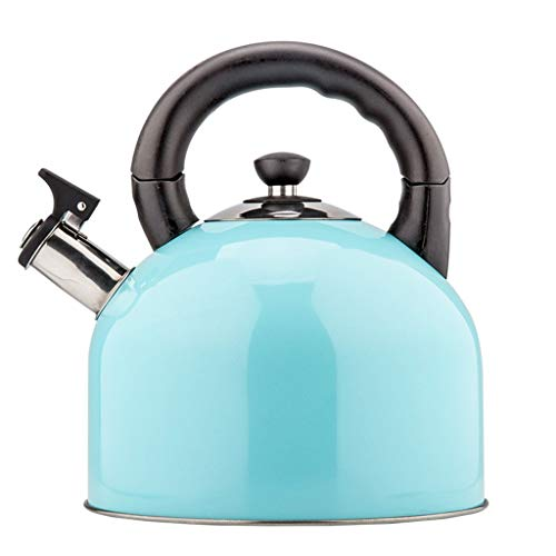 JN Bollitore Whistle Whistling Campeggio Bollitore Macchine del tè, Outdoor Indoor Caldeo di Gas for Caccia Pesca Outdoor-Rosa Bollitore in Acciaio Inox (Color : Blue)