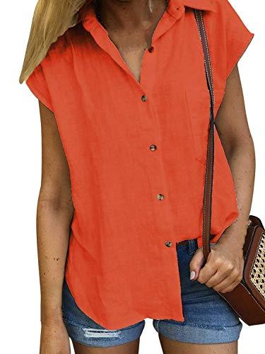 Lantch Damen Bluse Shirt Kurzarm Hemd Tops Oberteile Frauen Hemdbluse Elegant T-Shirt Lässige Mode Button V-Ausschnitt, M, Orange