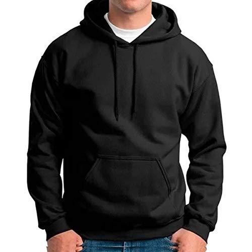 Moletom Masculino e Feminino Canguru Liso Preto Blusa de Frio Com capuz Tamanho:P
