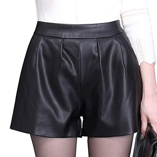 DISSA F7952 Damen Große Größe Hohe Taille Kunstleder Shorts Leder Kurze Hose,Schwarz,M