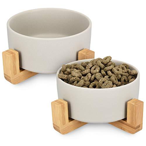 Navaris 2X Cuencos elevados para Mascotas - Comedero y Bebedero de cerámica para Perros Gatos Cachorros - con Soportes de bambú Antideslizante - en Gris