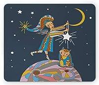 キッズマウスパッド、天使と猫のモチーフ、エイリアンプラネット、三日月の夜の星の保育園のデザイン、標準サイズの長方形の滑り止めラバーマウスパッド、多色