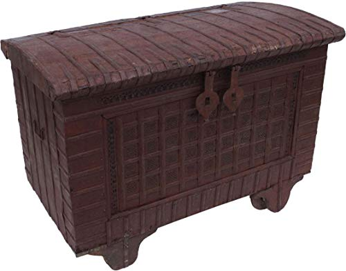 Guru-Shop Indische Hochzeitztruhe, Rädertruhe - Modell 1, Braun, 96x129x71 cm, Truhen, Kisten, Koffer